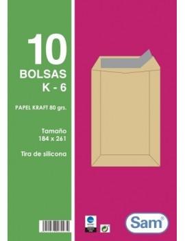 BOLSA SAM 184x261 KRAFT 80g PAQ.10