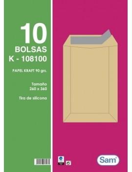 BOLSA SAM 260x360 KRAFT 90g PAQ.10