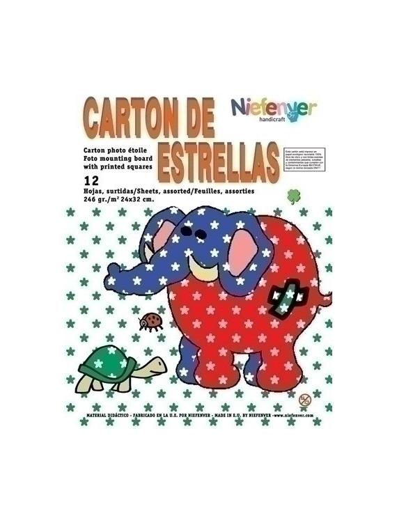 CARTULINA NIEFENVER IMPRESA 24x32cm. 300gr. ESTRELLA (6colores).PACK 12