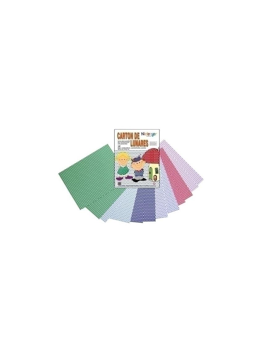 CARTULINA NIEFENVER IMPRESA 24x32cm. 300gr. LUNAR (6colores).PACK 12
