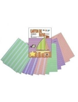 CARTULINA NIEFENVER IMPRESA 24x32cm. 300gr. RAYAS NEON (6 colores) PACK de 12