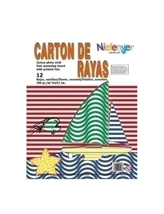 CARTULINA NIEFENVER IMPRESA 24x32cm. 300gr. RAYAS (6colores).PACK 12