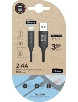CABLE USB MICRO APPLE ALTO RENDIMIENTO 2A NEGRO 1 m.