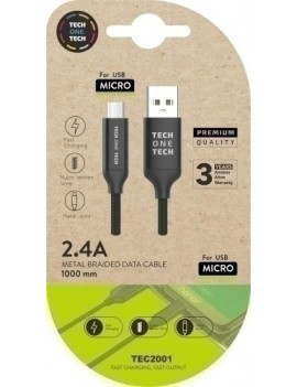 CABLE USB MICRO ANDROID ALTO RENDIMIENTO 2A NEGRO 1 m.
